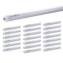 LUMINOSUM T8/T10/T12 LED Tube Light 8 Foot 40W, 80W Equivalent, Single Pin FA8 Base, Dual-End Power Ballast Bypass, Clear Cover, Daylight 5000k, Fluorescent Tube Replacement, ETL Certified, 20-Pack