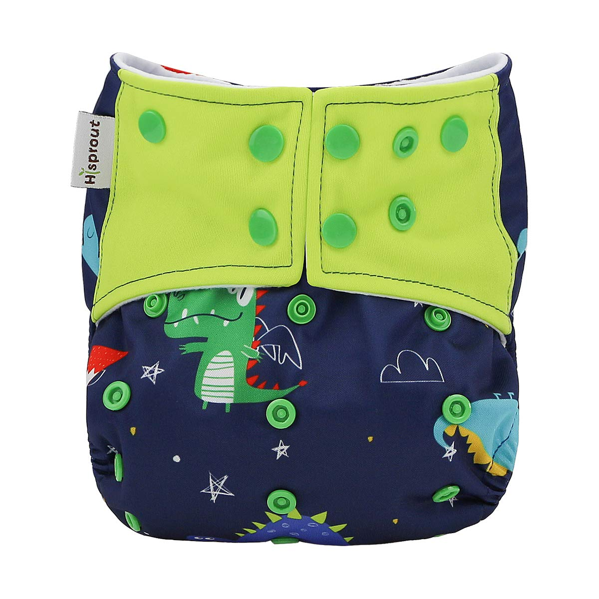 Hi Sprout One Size Adjustable Washable Reusable Pocket Cloth Diapers for Baby Girls and Boys,Dinosaur