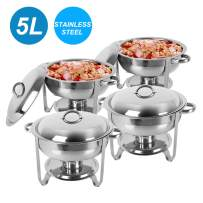 Round Chafing Dish Buffet Set Stainless Steel, 5L Full Size Serving Buffet Food Chafer Catering Warmer with Lid, Food Pan, Water Pan, Fuel Holder with Cover (US STOCK)