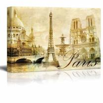 "wall26 - Canvas Prints Wall Art - Amazing Paris - Vintage Clipart (Eiffel) | Modern Wall Decor/Home Decoration Stretched Gallery Canvas Wrap Giclee Print. Ready to Hang - 32"" x 48"""
