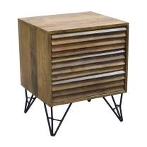 """Amazon Brand - Rivet Mango Wood and Iron 3-Drawer Shutter Nightstand, 18""""W, Natural Finish"""