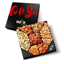 Tidbit Holiday Gourmet Nuts Gift Basket Platter (7 Variety) Healthy Gourmet Snack - Perfect for Family, Friends, Dad, Mom, Husband, Wife - Holidays, Get-Togethers, Parties, Movie Night & Birthdays
