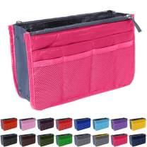 Handbag Organizer by Gaudy Guru - Insert Purse Organizer - Bag in Bag - 13 Pockets - Multiple Colors (Magenta)