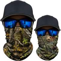 AXBXCX 2 Pack - UPF 50+ Camouflage Print Seamless Neck Gaiter Bandana Face Mask for Outdoor Activities