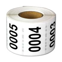 """Consecutive Number Labels Self Adhesive Stickers""""0001 to 2500"""" (White Black / 1.5 x 1 Inch) - 2500 Labels Per Pack"""