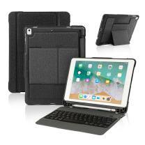 New iPad 9.7 2017 / iPad Pro 9.7 Keyboard Case with Pencil Holder, Wireless Bluetooth Keyboard with Shockproof Heavy Duty Impact Back Cover for iPad Pro 9.7 / iPad 9.7 2018 / 2017 / iPad Air / Air 2