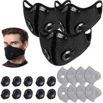 3 Pcs Unisex Protect Mouth Cover Adjustable Reusable with 8 Filters 10 exhaust valves,for Allergies Woodworking Running Sanding Mowing(Black) …