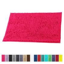 LuxUrux Bath Mat-Extra-Soft Plush Bath Shower Bathroom Rug,1'' Chenille Microfiber Material, Super Absorbent Shaggy Bath Rug. Machine Wash & Dry (15 x 23, Hot Pink)