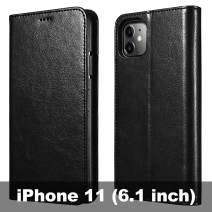 icarercase iPhone 11 Wallet Case, Folio Flip MagneticPu Leather Cover with Kickstand and Credit Slots for iPhone 11 6.1 inch 2019 (Black)