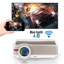 5000 Lumens WXGA LCD HD WiFi Bluetooth Projector Support 1080P Airplay LED Android Home Theater Video Projector Outdoor Wireless HDMI USB VGA AV Audio for Phones TV DVD PS4 Laptop Movie Game