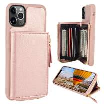 ZVE iPhone 11 Pro Max Case, iPhone 11 Pro Max Wallet Case with Credit Card ID Card Holder Slot Hangbag Purse Print Leather Cover Zipper Wallet Case for iPhone 11 Pro Max 6.5 inch - Rose Gold