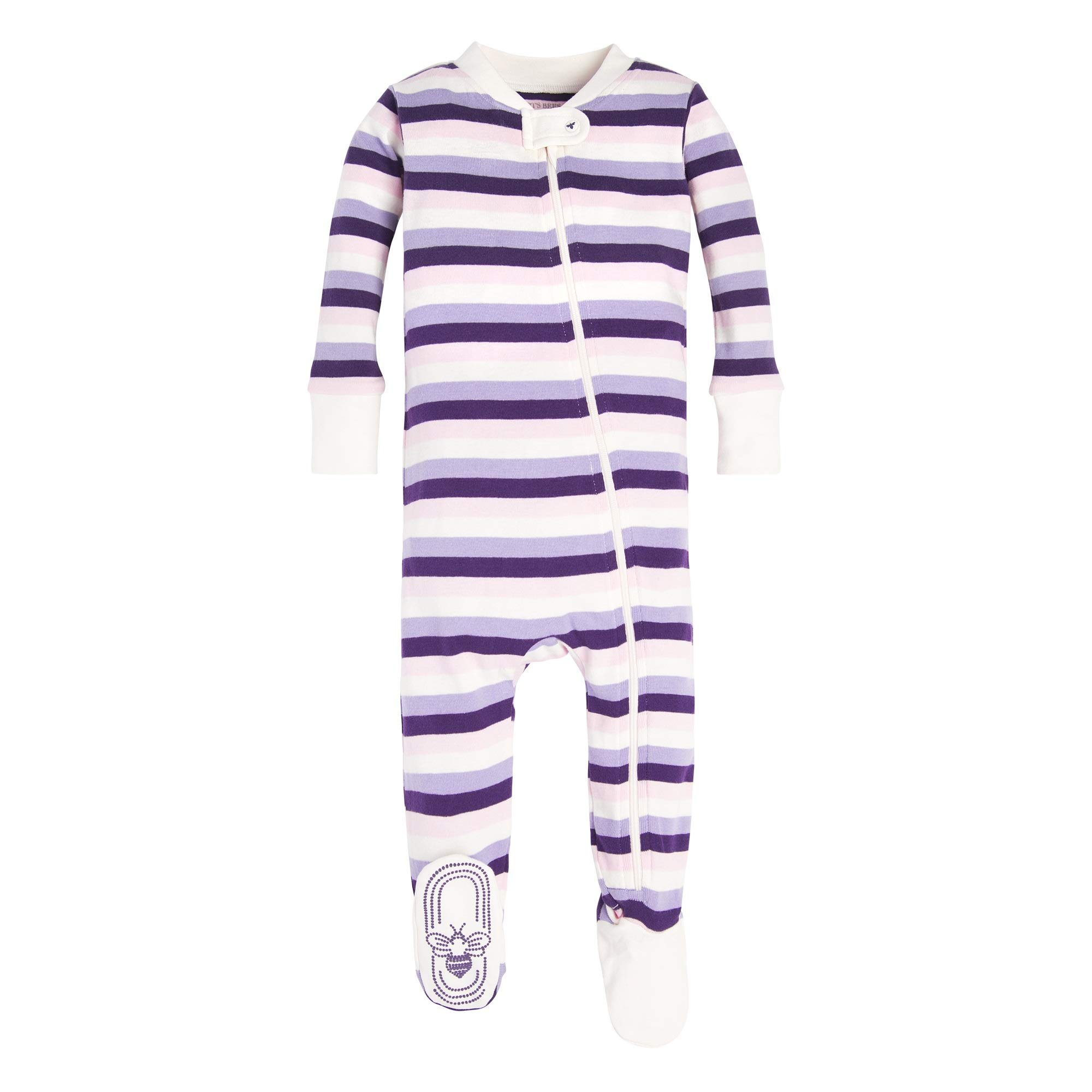 100/% Organic Cotton Burts Bees Baby Zip Front Non-Slip Footed Sleeper PJs Baby Girls Sleeper Pajamas