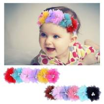 Senbowe Baby Girls Headbands Chiffon Flower Lace Soft Stretchy Hair Band Hair Accessories for Baby Girls Newborns Infants Toddlers and Kids