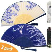 Zolee 2 PCS Small Folding Hand Fans for Women - Chinese Japanese Vintage Bamboo Silk Fans - for Dance, Performance, Decoration, Wedding, Party,Gift (White Rose & Blue Sakura)