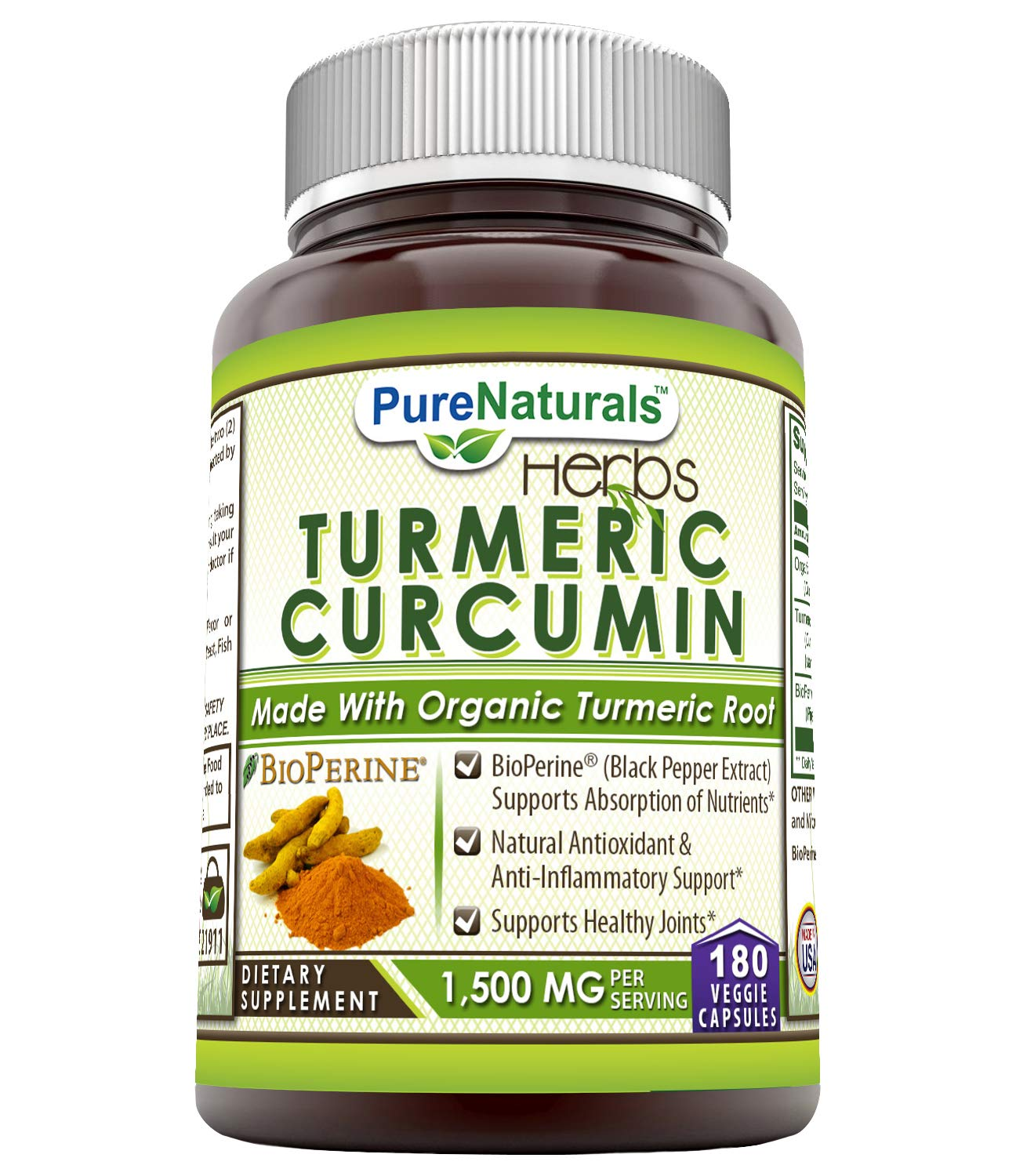 Pure Naturals Turmeric Curcumin with BioPerine, 1500 Mg Per Serving 180 Veggie Capsules – Bioperine (Black Pepper Extract Supports Absorption of Nutrients* Natural Antioxidants of Nutrients