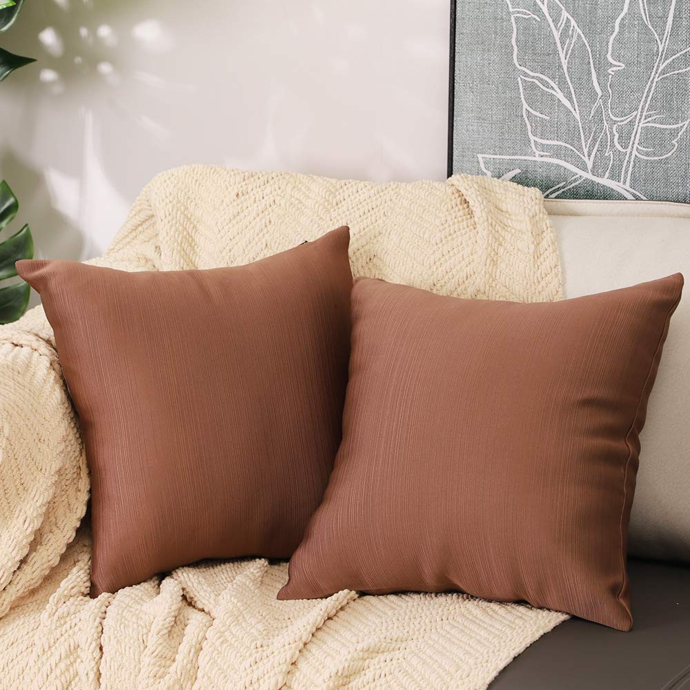 Btyrle Set of 2 Striped Throw Pillow Covers 16x16 Inch Square Solid Color Pillowcases Decorative Cushion Covers for Couch,Brown,45x45cm