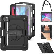 iPad Pro 12.9 Case 2020 with Pencil Holder [Support Apple Pencil Charging], TSQ iPad Pro 4th Generation Case w/ Screen Protector, Heavy Duty Rugged Shockproof Cover w/ Stand Hand Shoulder Strap, Black