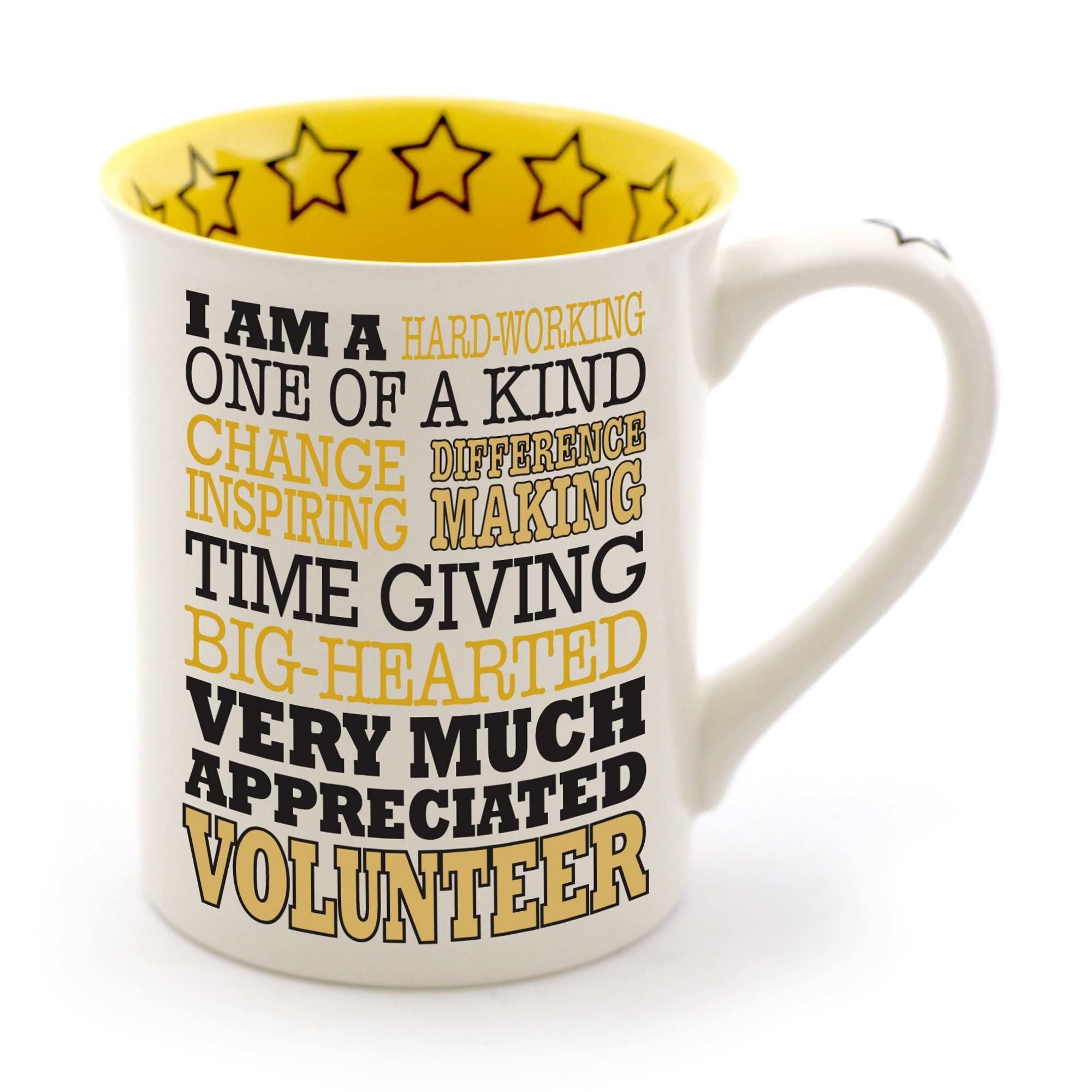 Enesco Volunteer Stoneware Mug, 16 oz, Yellow