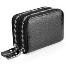 Leather Credit Card Wallet Credit Card Holder with Zipper Genuine Leather Credit Card Protector RFID Zip Around Wallet