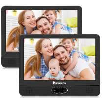 """NAVISKAUTO 12"""" Portable Dual Screen DVD Player for Car with Built-in Rechargeable Battery and Last Memory, Supports USB/SD Card Playback"""