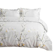 Bedsure Spring Bloom Pattern Bedding Set Full/Queen (90x90 inches) Duvet Cover Set Light Grey Printed Modern Comforter Cover-3 Pieces-Ultra Soft Hypoallergenic Microfiber