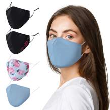 4PCS Face Mask Washable Cloth Floral Face Masks with Adjustable Nose Wire