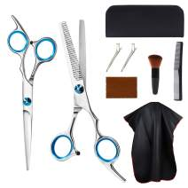 eNilecor Hair Cutting Kit Men Women Kids Pets, Home Hair Cutting Kit, 9 Pcs Hairdressing Scissors Set, Straight Scissors Thinning Shears Comb Cape Clips Brush Cleaning Cloth Case