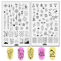 2pcs Sea Shell Pattern Nail Stamping Plates Geometry Flowers Image Painting Nail Art Stencils English Letter Manicure Template 9.5x14.5CM Moon Star Space Design Nail Stamp Tools (D-02 and D-04)
