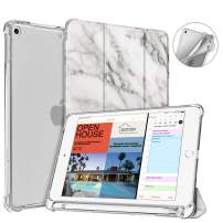 Fintie Case with Pencil Holder for iPad Mini 5 2019 - SlimShell Lightweight Soft TPU Back Protector Translucent Frosted Cover with Auto Wake/Sleep, Marble White