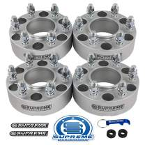 "Supreme Suspensions - 4pc 2"" Hub Centric Wheel Spacers for 2007-2014 Toyota FJ Cruiser 2WD 4WD 6x5.5 (6x139.7mm) BP with M12x1.5 Studs 106mm Center Bore w/Lip [Silver]"