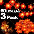 TOPLEE 3 Pack Thanksgiving Lights Decorations Maple Leaves Fall String Lights, Thanksgiving Fall Lights 30 ft 60 LED Waterproof Battery Operated Fall Garland for Indoor Home Outdoor Decor Holiday