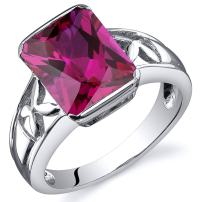 4.25 Carats Created Ruby Ring Sterling Silver Rhodium Nickel Finish Radiant Cut Sizes 5 to 9