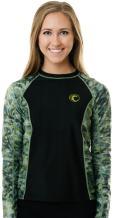 Aqua Design Women's Long Sleeve Big Wave UPF 50+ Sun Protection Rash Guard Shirt