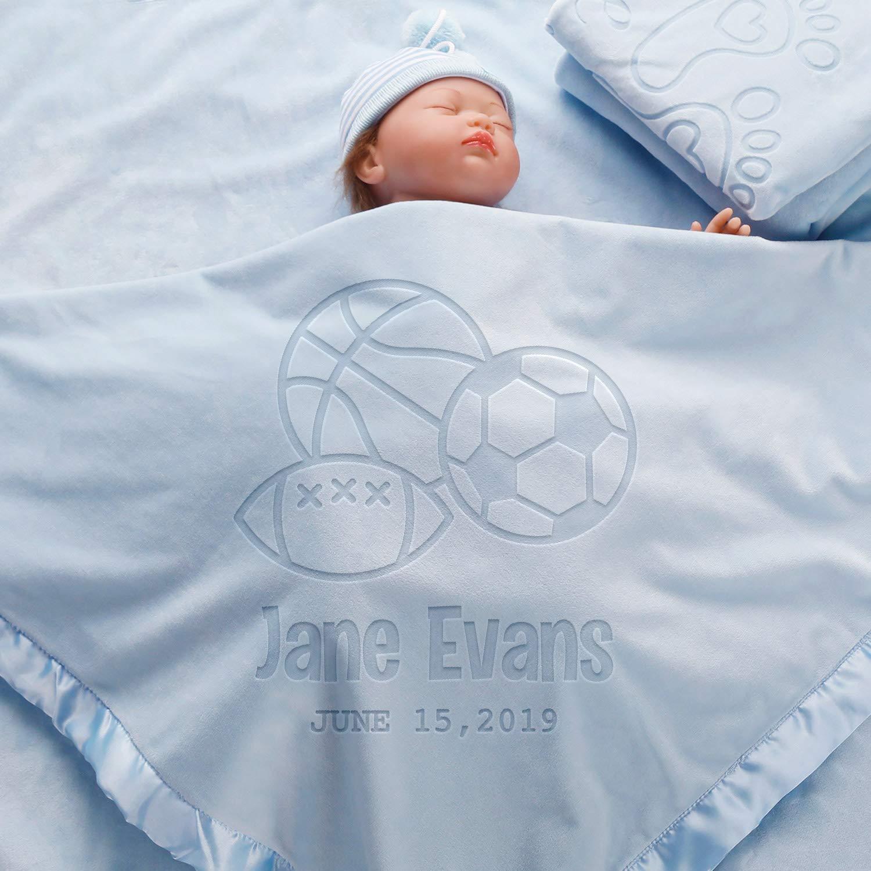 AW BRIDAL Ball Blanket Gift for Girls Boys-36X36Inch, Personalized Baby Blanket Newborn Receiving Swaddling Blanket Crib Bedding