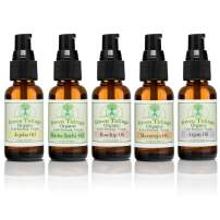 Green Tidings Organic Body Oils for Hair & Nail Growth (5 Pack) 100% Natural Cold-Pressed, Virgin & Unrefined Mix & Match Moisturizing Body Oils (Argan, Maracuja, Jojoba, Rosehip & Sacha inchi Oil's)