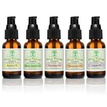 Green Tidings Organic Body Oils for Hair & Nail Growth (5 Pack) 100% Natural Cold-Pressed, Virgin & Unrefined Mix & Match Moisturizing Body Oils (Argan, Maracuja, Jojoba, Rosehip & Sacha inchi Oil's)