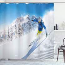 """Ambesonne Winter Shower Curtain, Skier Skiing Downhill in High Mountains Extreme Winter Sports Hobby Activity, Cloth Fabric Bathroom Decor Set with Hooks, 70"""" Long, Blue White"""