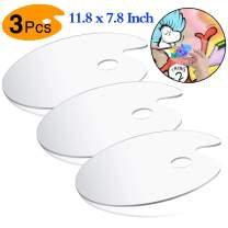 Acrylic Paint Palette with Thumb Hole, 3Pcs Oval Shaped Non-Stick Clear Acrylic Palette Comfortable to Hold and Easy to Clean, Plastic Palette for DIY Art Craft Painting - 11.8 x 7.8 Inch(3 Pack)
