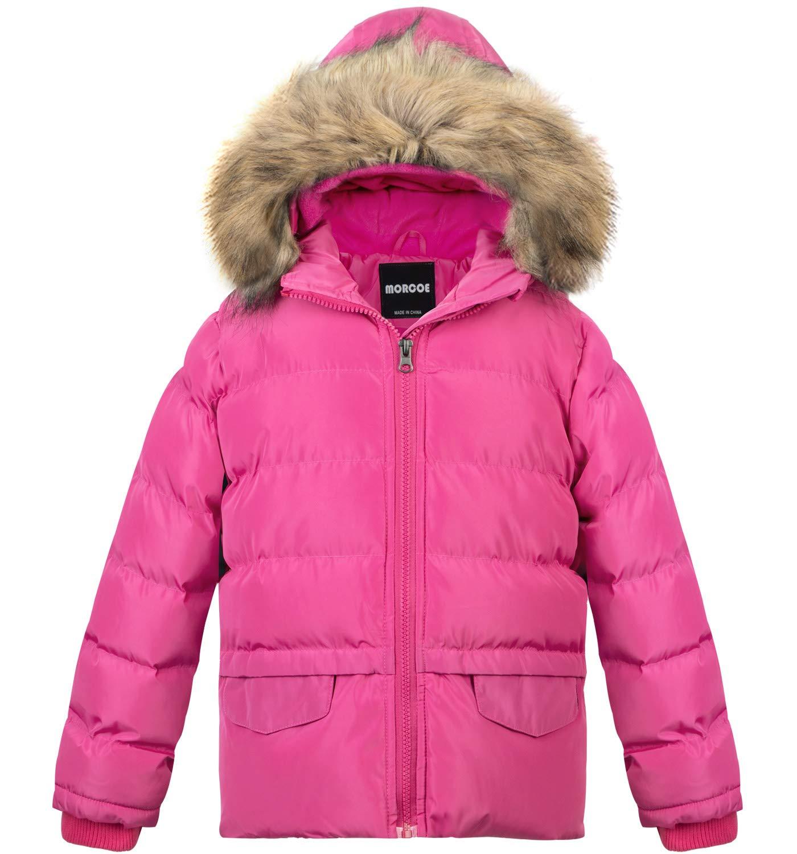 MORCOE Girls' Winter Fleece Thicken Coat Windproof Outerwear Warm Parka Outdoor Padded Puffer Jacket with Hood