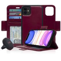 Navor Universal Car Mount & Detachable Magnetic Wallet Case with RFID Protection Compatible for iPhone 11 [6.1 inch] [Vajio Series] - Maroon [IP11VJKTMR]