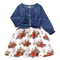 Cutemile 2-8 Years Little Girls Sleeveless Denim Princess Dresses Casual Bowknot Front One-Piece Tutu Sundress Skirt