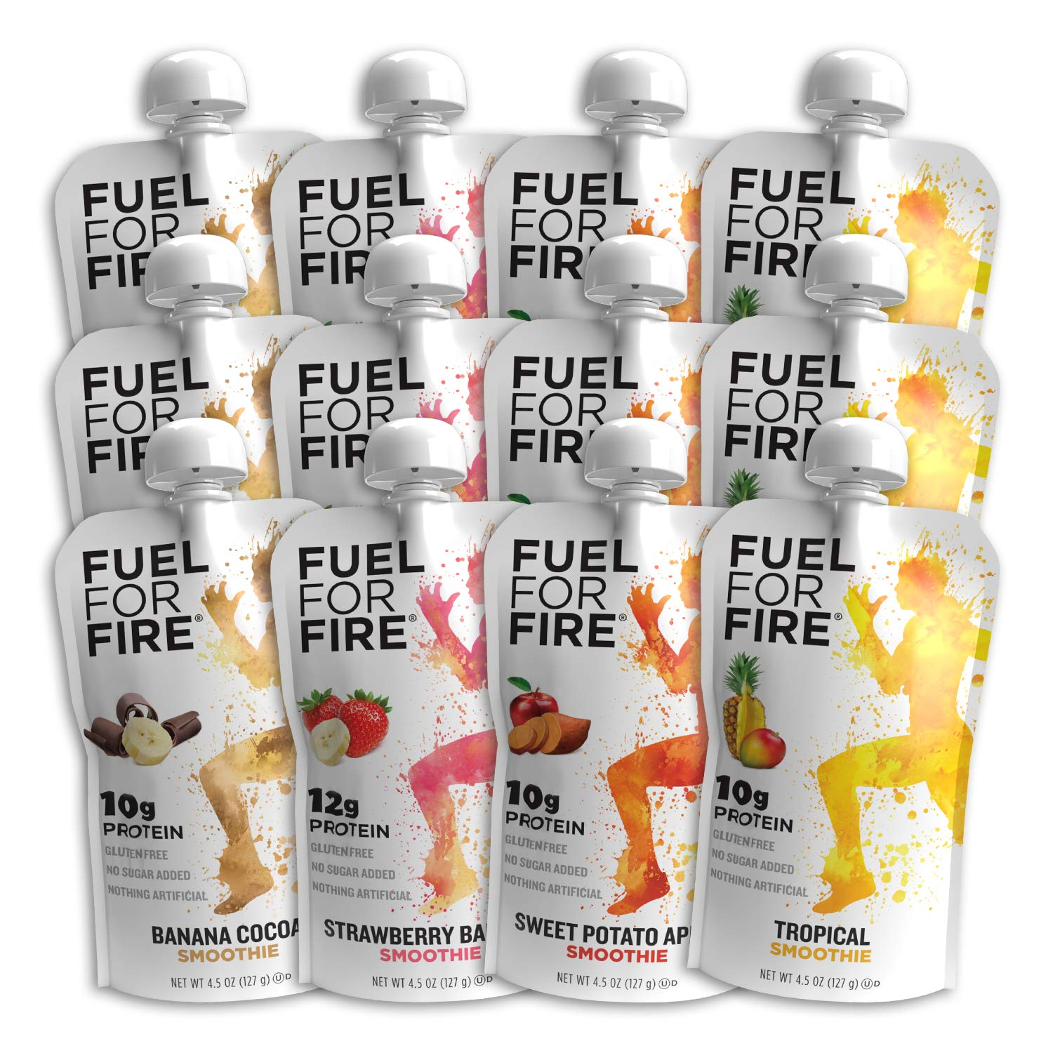 Fuel For Fire - Variety - Team Sports (12 Pack) Fruit & Protein Smoothie Squeeze Pouch   Perfect for Workouts, Kids, Snacking - Gluten Free, Soy Free, Kosher (4.5 ounce pouches)