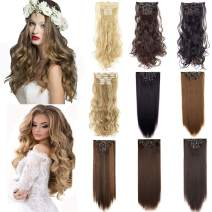 6Pcs 16 Clips Curly Straight Clip in Hair Extension Full Head Clip on Synthetic Hair Extension Wavy Hairpieces for Women Fashion and Beauty