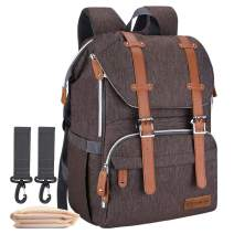 Diaper Bag Backpack, CANWAY Nappy Bag with Changing Pad for Travel Shopping (brown)