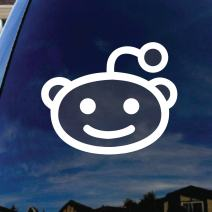 "SoCoolDesign Cartoon Alien Head Car Window Vinyl Decal Sticker 5"" Wide (White)"