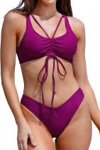 CUPSHE Women's Bikini Swimsuit Solid Purple Ruched Low Rise Set