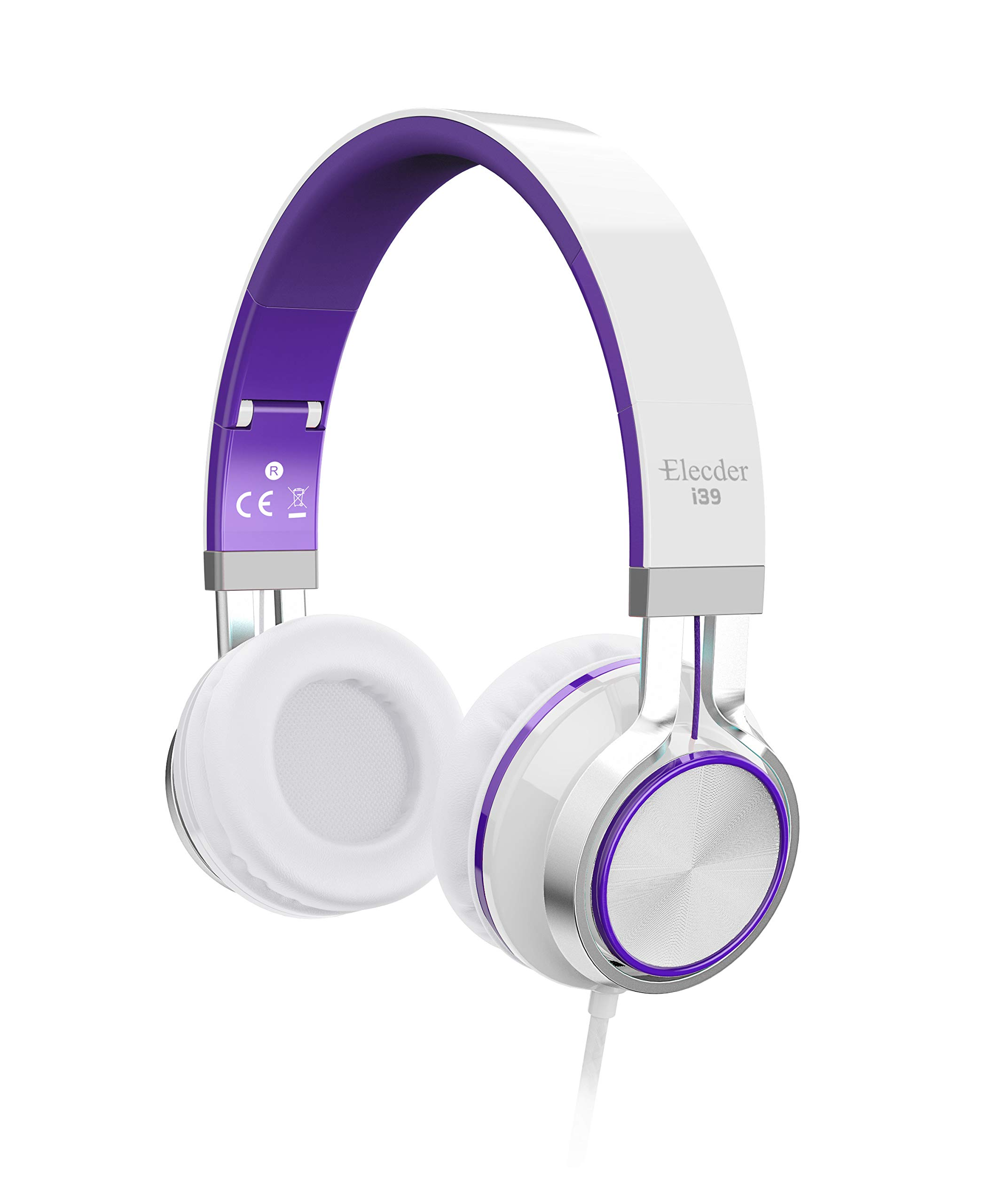 Elecder i39 Headphones with Microphone Foldable Lightweight Adjustable On Ear Headsets with 3.5mm Jack for iPad Cellphones Computer MP3/4 Kindle Airplane School Purple/White