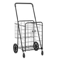 TUFFIOM Folding Extra Large Grocery Shopping Cart, Easily Collapsible & Heavy Duty Trolley, Lightweight Utility Cart with Double Basket, Swivel Wheels for Grocery, Laundry, 110Lbs Capacity