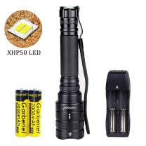 Super Bright 4000 Lumens LED Flashlight Zoomable Rechargeable XHP50 Flash light with Battery and Charger
