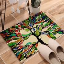 "KAROLA Indoor Super Absorbs Doormat Non Slip Front Door Inside Floor Dirt Trapper Mats Entrance Rug 32"" x 20"" Shoes Scraper Machine Washable - Colorful Tree of Life"